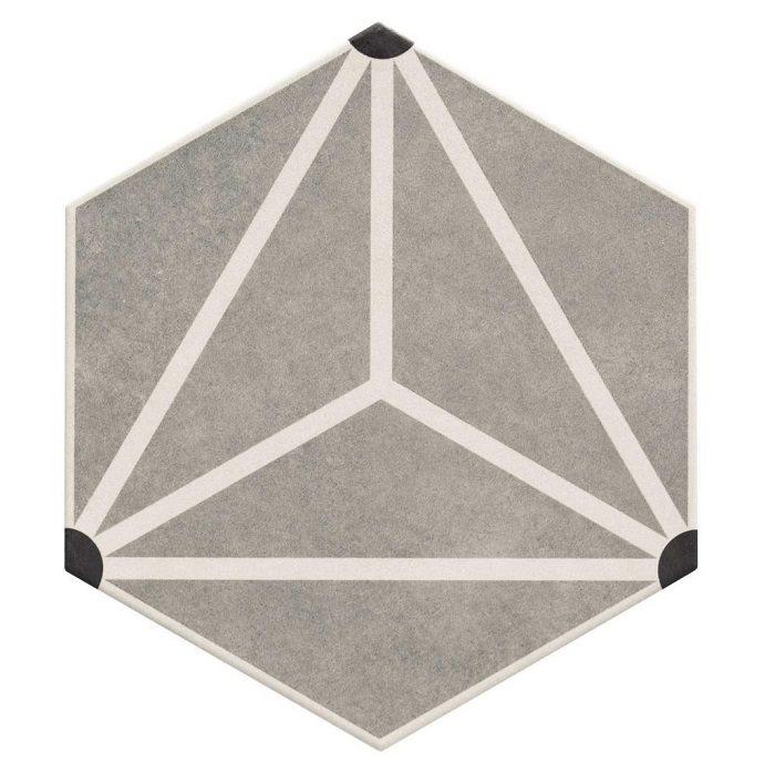 Carrelage tomette géométrique33x28.5 OSAKA GREY - 1m² - zoom