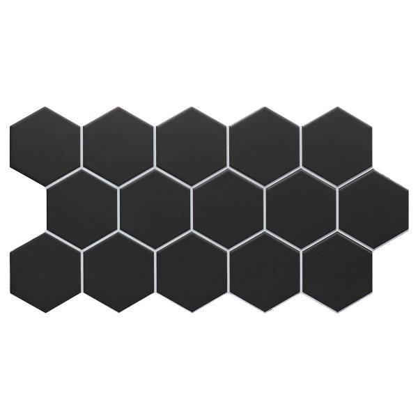 Carrelage tomette noire mate effet joint blanc 26.5x51 cm HEX BLACK - 0.95m² - zoom