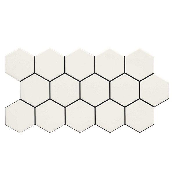 Carrelage tomette blanche mate effet joint noir 26.5x51 cm HEX SNOW - 0.95m² - zoom