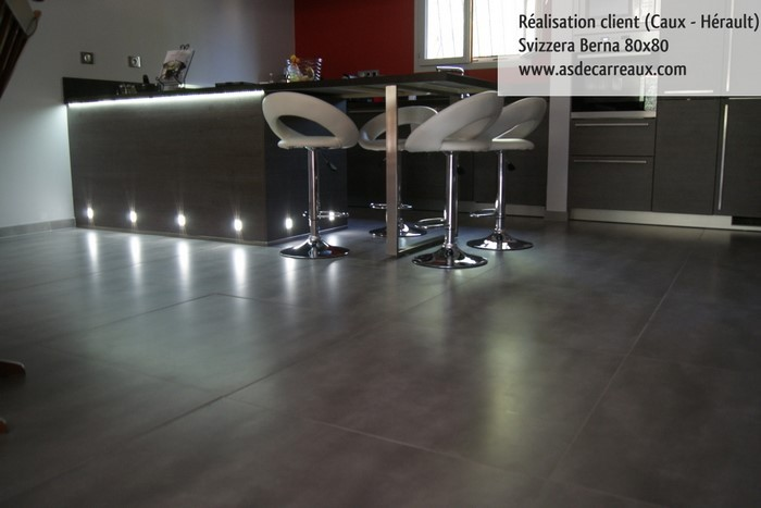 Inspiration des r alisations sol ambiances de nos clients for Carrelage grand carreaux gris