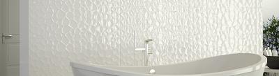 Faience murale unie blanche brillante cm as de carreaux - Carrelage blanc relief ...