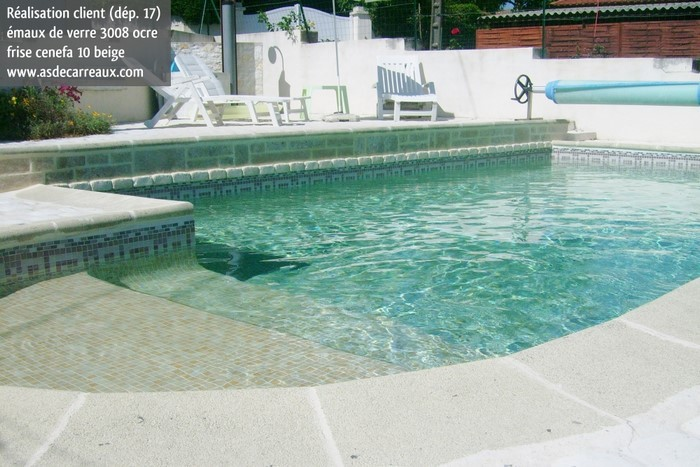 mosaique piscine ocre marron