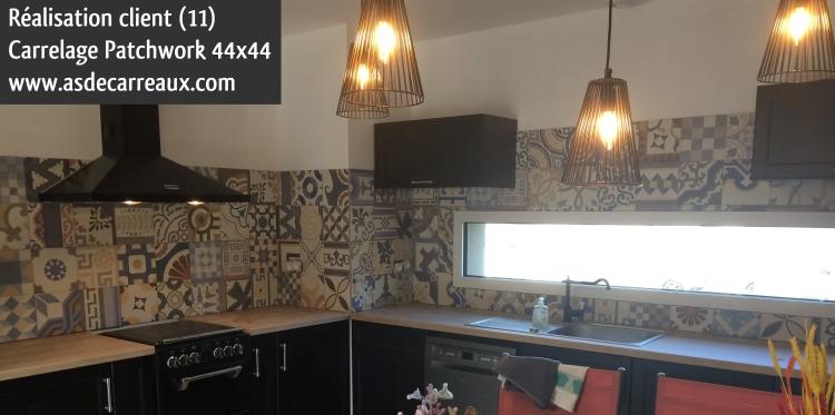 Inspiration des r alisations ambiances de nos clients carrelage faience salle de bain - Credence effet carreau de ciment ...