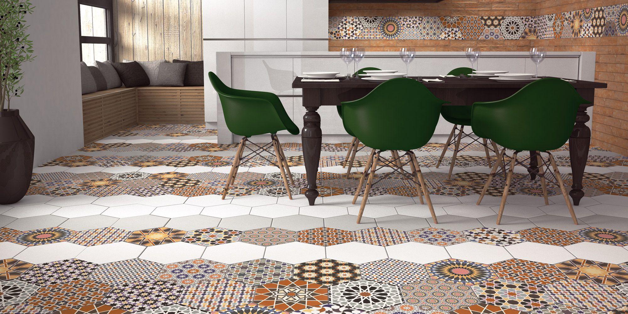 Modele De Carrelage Sol carrelage tomette décorée style ciment 33x28.5 andalusi mix - 1m²